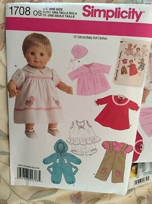 """Simplicity Sewing Pattern 1708, Fits 15"""" Bitty Baby Bloomers, Pants, Dress, +++"""