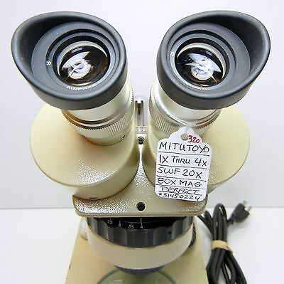 MITUTOYO Turret Zoom Stereo Microscope, SWF20X Eyes, 80X Max Mag DESK STAND #320