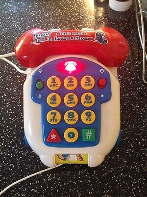 Vtech Little Smart Pull N Learn Lights Sound Toy Phone BATTERIES INCLUDED!!!