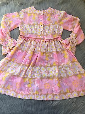 Vintage 60s Girls Buffy By Cinderella Pink Yellow Floral Mod Groovy Dress