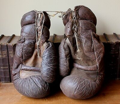 Vintage X Large Heavyweight Leather Boxing Gloves. Big Old Straw Filled 1930's