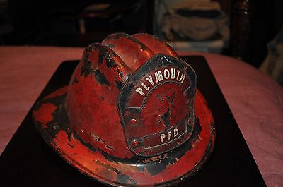 Vintage Fire Fighting Helmet with Original Leather Badge(Plymouth PFD Badge)