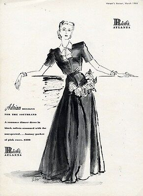 ADRIAN Fashion Design Ad Page 1944 Black Taffeta Evening Dress RICH'S Atlanta