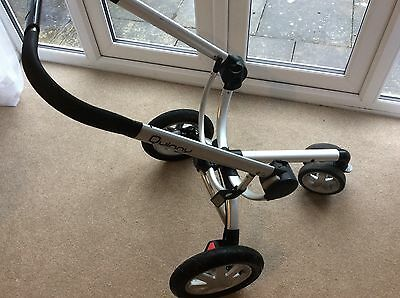 QUINNY BUZZ CHASSIS with Front&back wheels and handle bar, silver grey