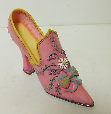Vintage Collectible Miniature Victorian Style Shoe Pink Floral