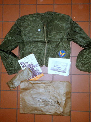 WWII ARMY AF ELECTRIC FLIGHT JACKET F3 NOS MINT in PAC + BOOKLET + PATCH + B17