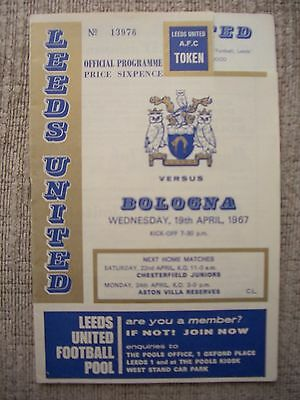 1967...LEEDS UNITED v BOLOGNA....Fairs Cup......Football Programme