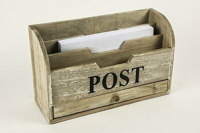 Wooden Post Letter Rack Desk Organiser Mail Storage Holder Shabby Vintage Style