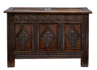 Late 17Th Century Small Carved Oak Coffer