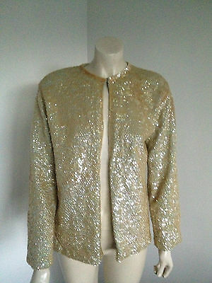 Vintage 50's Hipster Wool Sequin Blue Evening Cardigan Size 12 ?