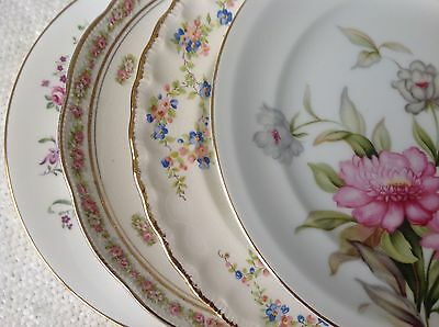 "Set 4 Vtg Mismatched China Dessert Cake Salad 7.75 to 8.25"" Plates Pink Florals"