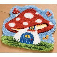 Vervaco Toadstool House Latch Hook Shaped Rug, Multi-Colour