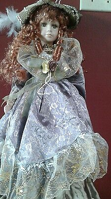 Beautiful Collectable Large Porcelain Doll Red Tresses Green Eyes Victorian