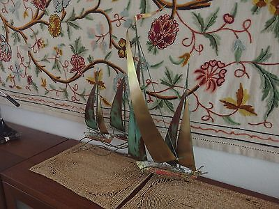 Vintage Mid Century C. Jere Brass & Copper Sail Boat Wall Sculpture