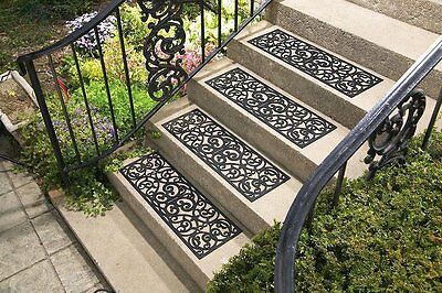 Outdoor Set of 4 Butterfly Scroll Black Rubber Stair Treads Step Mats Patio Yard
