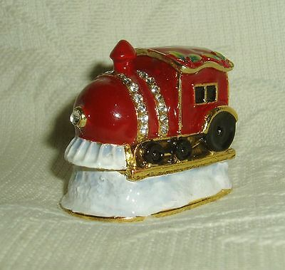 Russian Сollectible Handpainted Decorative Enamel Thimble Winter Express Engine