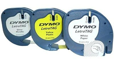 Dymo (12mm) LetraTag Cassette (Couleurs Assorties) - 1 x Lot de 3 Cassettes