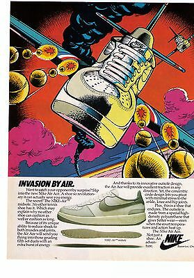 "1980's Nike 'Air Ace"" ""Invasion By Air"" Tennis Shoe Print Advertisement"