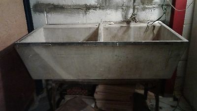 Vintage concrete 2 bowl sink with stand.