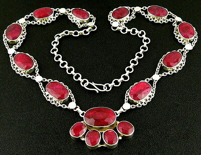 """24"""" Red Stone Ruby Gemstones Sterling Silver 925 Link Large Heavy Vtg Necklace"""