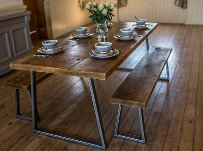 Fine Industrial Style Dining Table And Bench Set 350 00 Ibusinesslaw Wood Chair Design Ideas Ibusinesslaworg