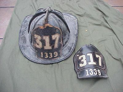 Vintage Fdny Leather Cairns Fire Helmet With 2 Front Plates