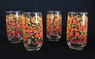 Vintage Set of 4 Drinking Glasses Red/Orange/Yellow Flowers 12oz Tumblers Retro