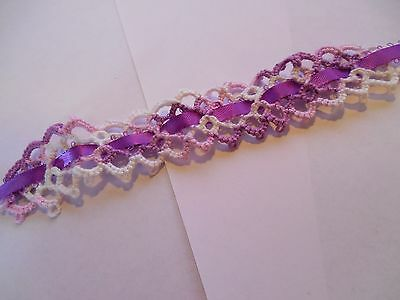 2 Tatted Bookmark Varigated Purple Ribbon Lace Book Gift Dove Country Tatting
