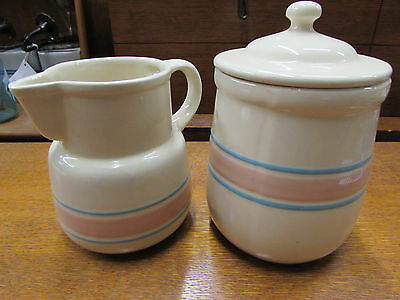 McCoy Pitcher and Canister, Traditional Pink and Blue Stripes