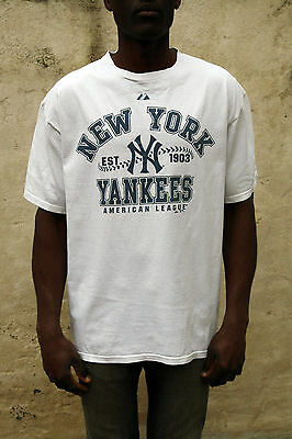 Yankees American League New York White Mens Short Sleeved T-Shirt Cotton L Large