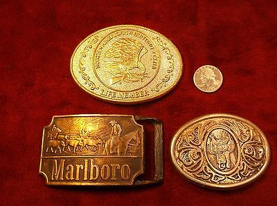 Lot Of 3 Vtg Mens Belt Buckles - Marlboro Cigarettes, North America Hunting Club
