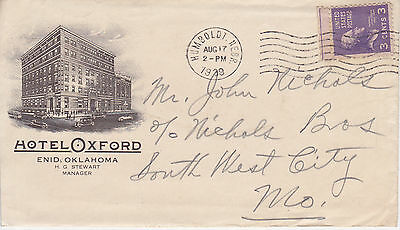 Postal History - Hotel Oxford Enid, Ok Illustrated Cover With Contents To 1939