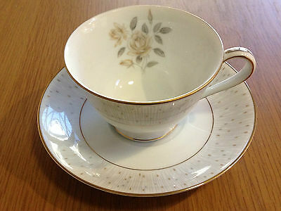 NORITAKE JAPAN ALBERTA 5806 DUO TEACUP SAUCER Vintage Porcelain China
