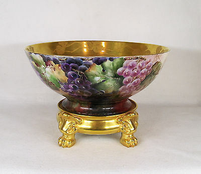Large Hand Painted Grape Gilded Porcelain Bowl on Pedestal/Stand