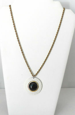 Very Lovely Vintage Rope Chain Necklace Pendant In White, Gold & Black & Designs