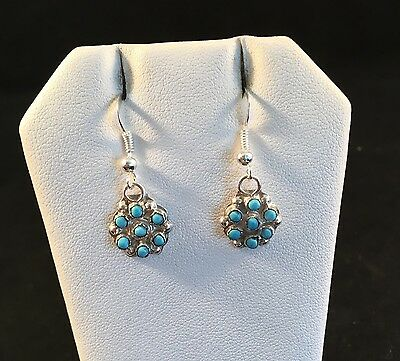 Native American Zuni Turquoise And Sterling Silver Dangle Earrings