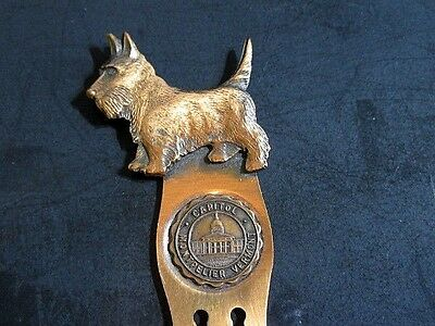 Vintage Scottie Dog Clip Bookmark Capitol Montpelier Vermont Copper Souvenir