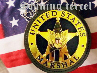 Shining Gold Five-pointed star 1789 U.S Marshal Badge replica w.pin back &Holder