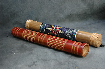 "Rain Sticks Two 15.5"" Redish Carved Wood & 16"" Painted Bamboo, Both 3"" Diameters"