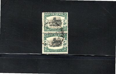 South Africa 1933 5s Ox wagon vertical bi-lingual pair SG 64 postally used