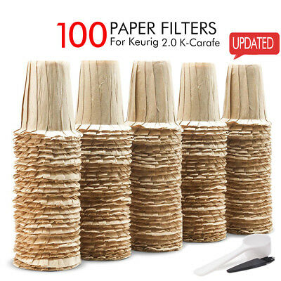 BRBHOM 100 Disposable Paper Filter Cup Replacement Keurig K Carafe Large Cup 2.0