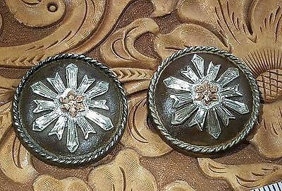 """2~1 1/2"""" Sterling Silver .925 Overlay on Iron Hand Engraved  conchos~Saddles Z63"""