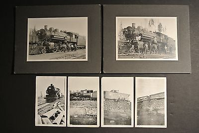 x2 ORIGINAL RARE CABINET CARDS CM&SP RR RAILROAD TRAIN REAL PHOTO SPIRIT LAKE ID