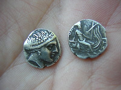 2 Ancient Greek? Roman? Solid Silver Coins - Great Designs - Nice Details