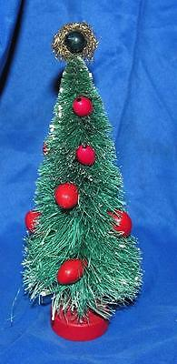 1950's Miniature Xmas Putz Bottle Brush Tree, Composition Berries, Tinsel Topper