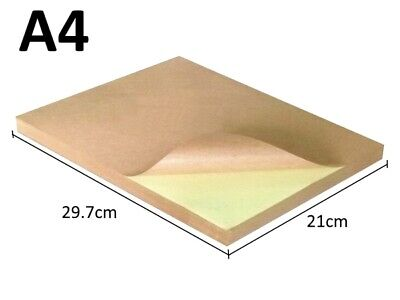 100 x A4 Brown Kraft Sticker Sheet  Paper Self Adhesive Label Laser printer