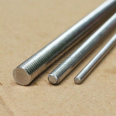 304 Stainless Steel M2 to M20 Right Hand Threaded Screw Rod 100 to 600mm Cut