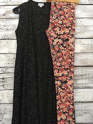 LuLaRoe Outfit XS heathered black Joy vest w/ OS One Size floral leggings Pink