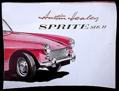 Original Fold Out Austin Healey Sprite MK ll Car Sales Brochure Dealer Catalog