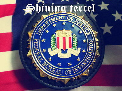 FBI Seal Style Badge replica with pin back and Holder *Heavy Duty &Collectible